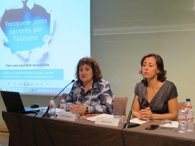 La pta.Y la vicepta.De la Federación Catalana de Autismo, R.Serrano y E.Leach