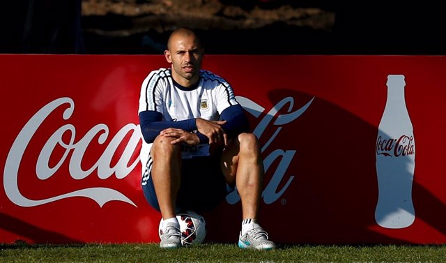 Argentina's Mascherano sits during a training session in La Serena