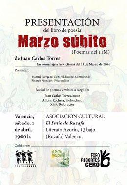 Cartel del acto de presentación del libro