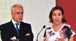 El presidente riojano, José Ignacio Ceniceros, y la alcaldesa , Cuca Gamarra