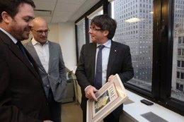 El presidente de la Genralitat, Carles Puigdemont, en Nueva York