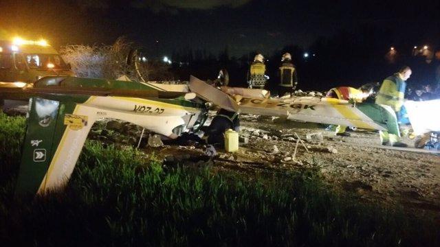 Accidente de una avioneta biplaza en el aerodromo Loring de El Molar