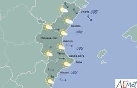 Alerta por viento muy fuerte en Castellón y máximas de 25 y 23 grados en Alicante y València