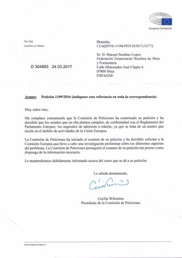 Contestación Parlamento Europeo a petición de examinar el Impuesto Turístico