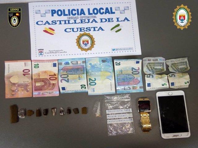 Material intervenido por la Policía Local de Castilleja de la Cuesta (Sevilla)