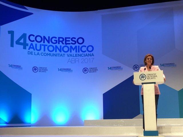 La 'popular' ha participado en el XIV Congreso el mismo día que el de su región