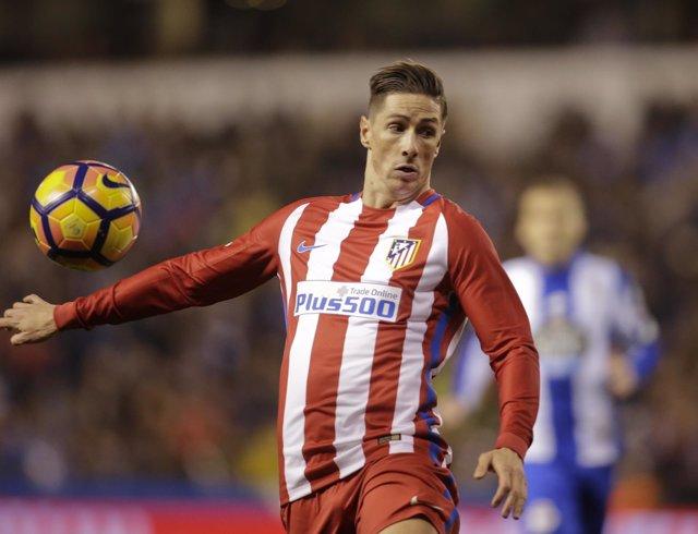 Fernando Torres, jugador del Atlético de Madrid, en Riazor