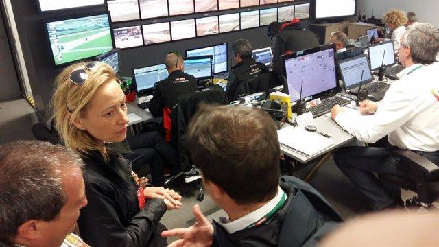Gastón en el Race Control de MotorLand durante el Mundial de SBK.