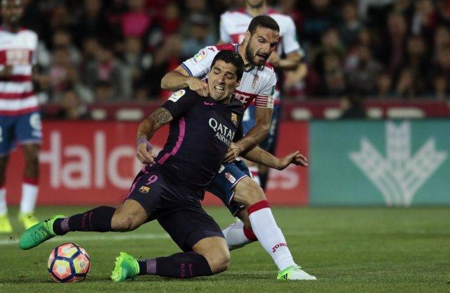 Luis Suárez pugna con Lombán en el Granada-FC Barcelona