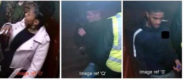 Imágenes de tres personas que la Policía británica quiere identificar