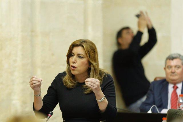 Susana Díaz, este jueves en el Parlamento
