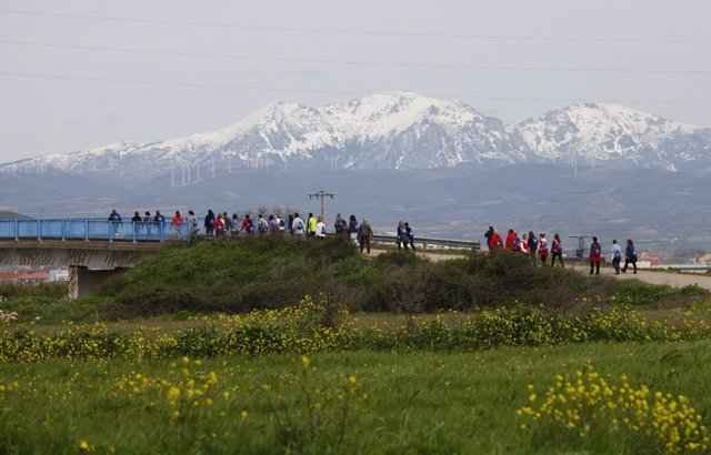 Gente paseando, paisaje, campo verde, montañas nevadas