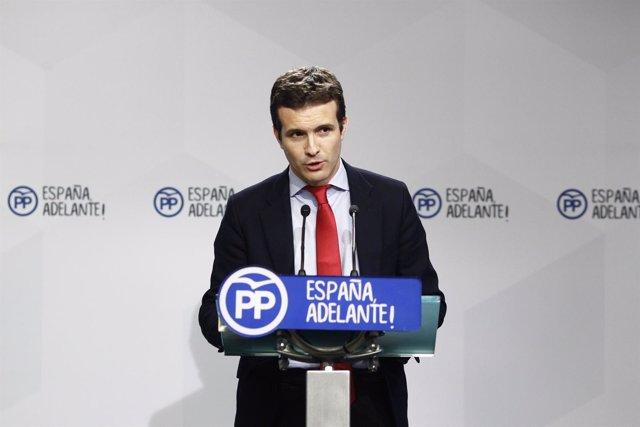 Rueda de prensa de Pablo Casado en la sede del PP