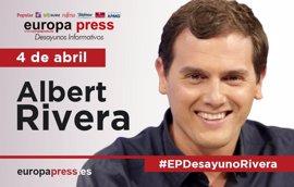 Albert Rivera participa este martes 4 de abril en los Desayunos Informativos de Europa Press