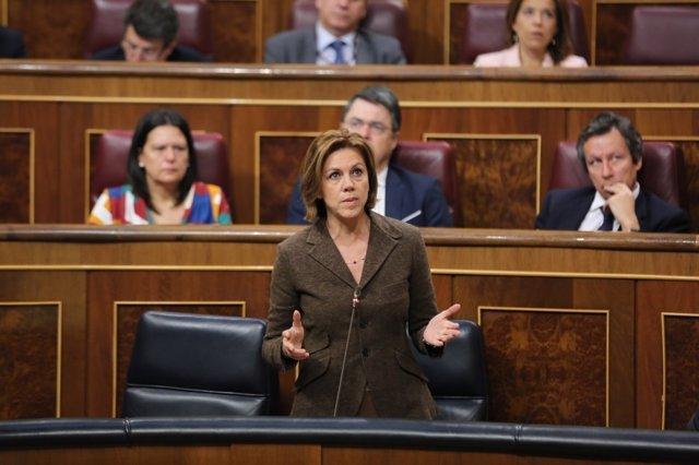 Cospedal en la sesión de control al Gobierno en el Congreso
