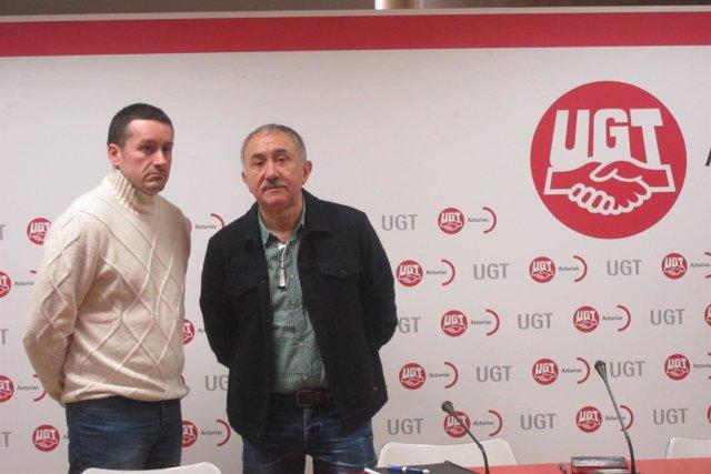 Secretarios de UGT y UGT Asturias Pepe Álvarez y Javier Fernández Lanero