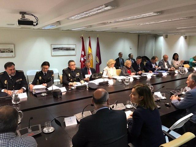 Junta de seguridad en el Ayuntamiento de Madrid