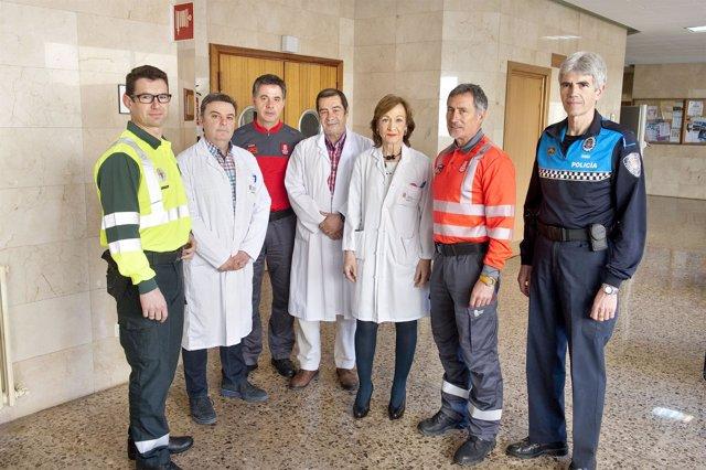 Representantes policiales y del Hospital de Tudela