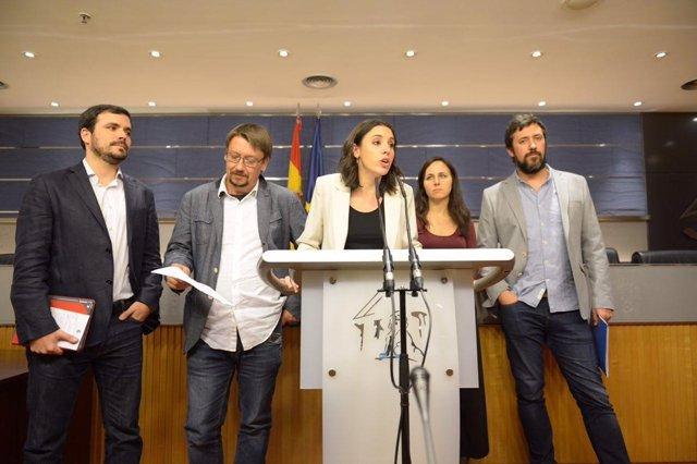 Irene Montero, Xavier Domenech, Alberto Garzón, Antón Gómez-Reino, Ione Belarra