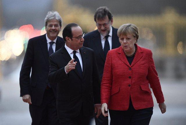 Hollande, Merkel, Gentiloni y Rajoy en Versalles
