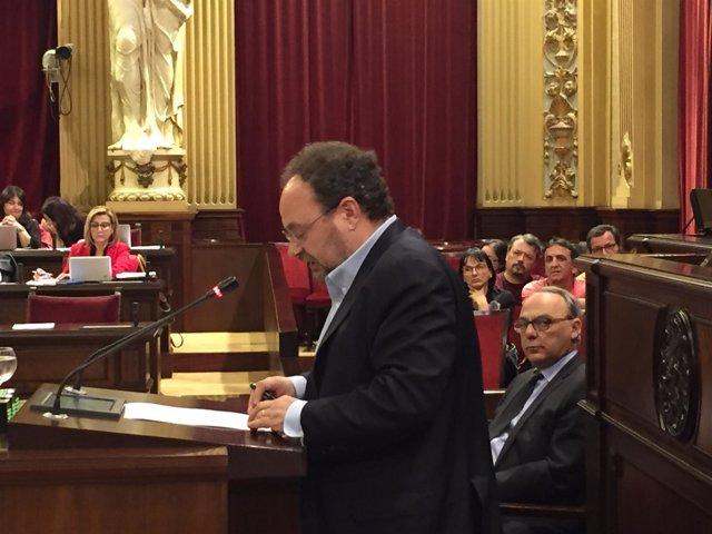 El diputado del PSIB Damià Borràs durante el pleno del Parlament