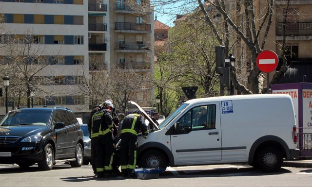 Furgoneta que colisionó con el vehículo policial en Salamanca