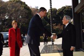 El emperador de Japón recibe a los Reyes de España en el Palacio Imperial de Tokio