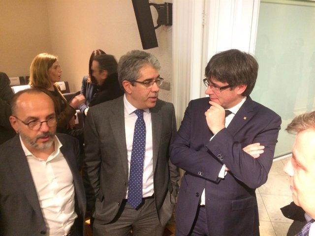 El presidente de la Generalitat C Puigdemont, C.Campuzano y F.Homs, PDeCAT