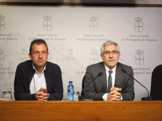 Gaspar Llamazares y Ovidio Zapico, diputados de IU en Asturias