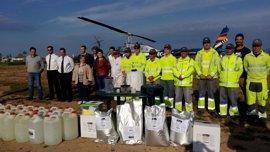 Un helicóptero combate la proliferación de mosquitos en el Pla de Sant Jordi y Playa de Palma