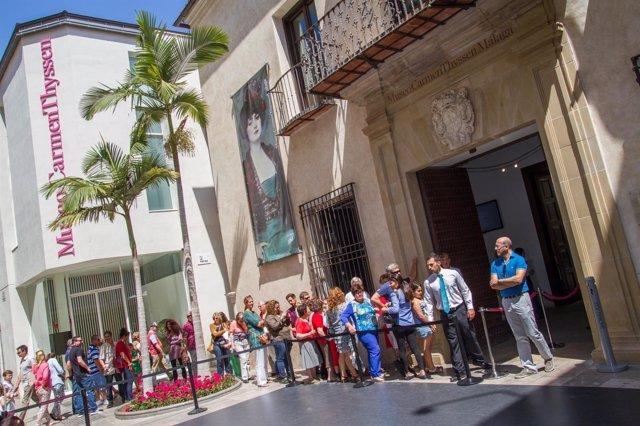 Museo Thyssen Málaga, colas, visitantes, visitas, turistas, cultura, turismo