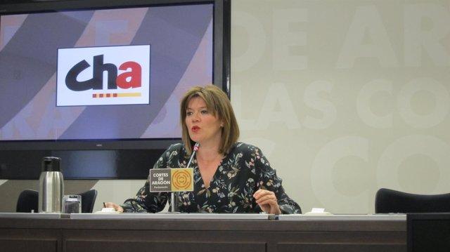La portavoz de CHA, Carmen Martínez, en las Cortes