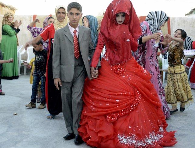 Una boda entre dos niños en el norte de Irak