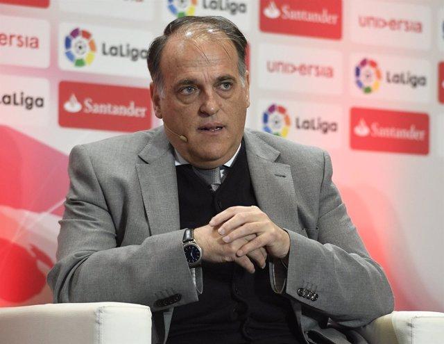 Javier Tebas, en un acto de LaLiga en el Calderón