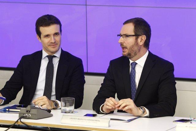 Pablo Casado y Javier Maroto en la reunión del Comité Ejecutivo Nacional del PP