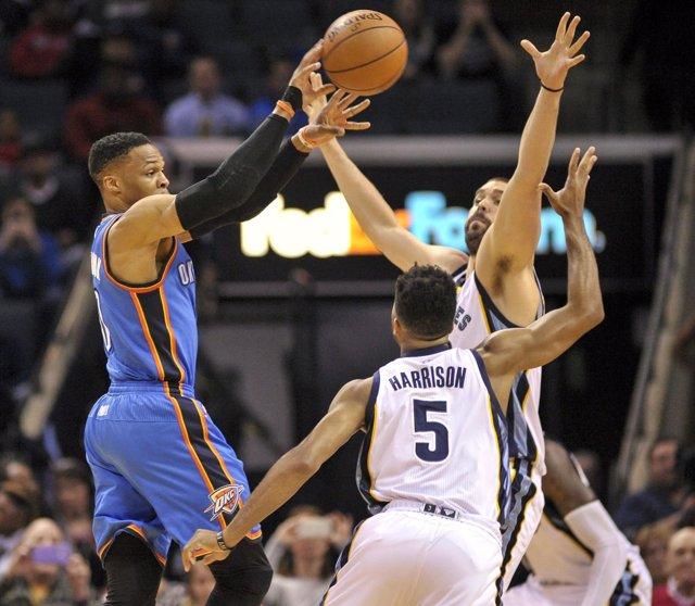 Marc Gasol y Westbrook en el Oklahoma City Thunder - Memphis Grizzlies