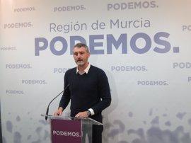 """Urralburu (Podemos) da por hecho que Cs apoyará a López Miras y anuncia su oposición """"desde ya"""" al candidato del PP"""