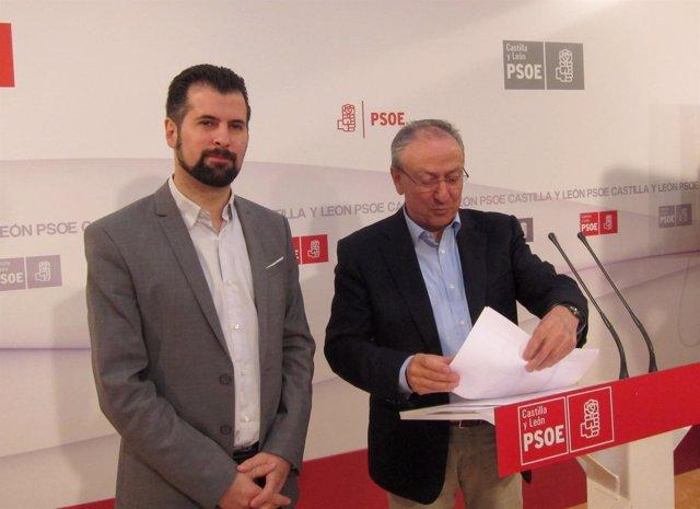 Tudanca y Álvarez en rueda de prensa en la sede regional del PSOE