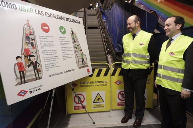 Rollán supervisa el avance de las obras de renovación de las escaleras mecánicas