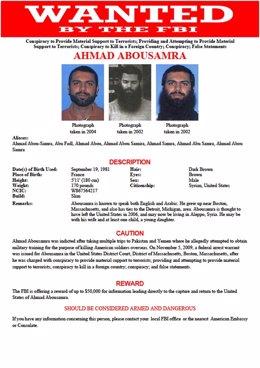 Cartel del FBI sobre Ahmad Abusamra, dirigente de Estado Islámico