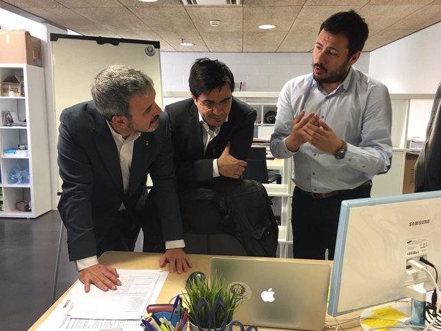 Jaume Collboni y Gerardo Pisarello en la incubadora de Barcelona Activa
