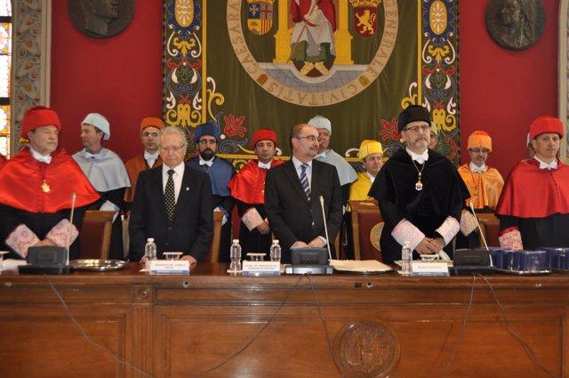 El rector de la UZ, José Antonio Mayoral, y el presidente, Javier Lambán.