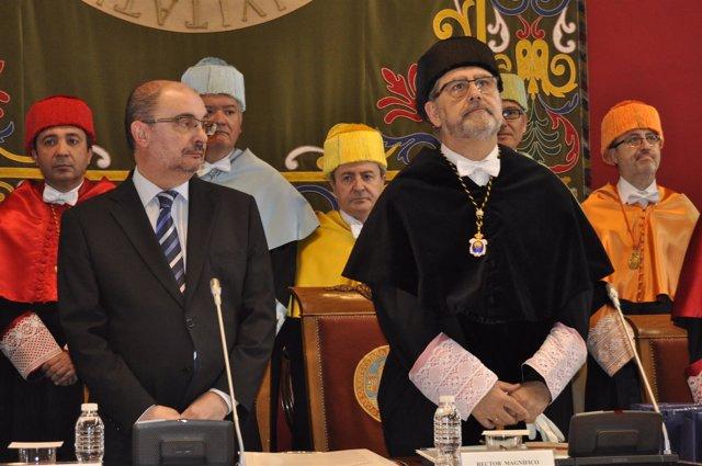 El presidente de Aragón, Javier Lambán, en el acto de San Braulio.