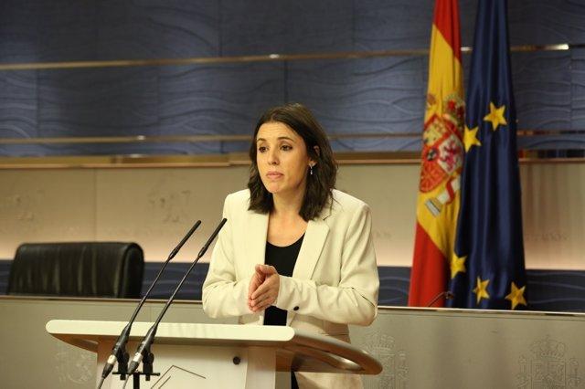 Rueda de prensa de Irene Montero en el Congreso