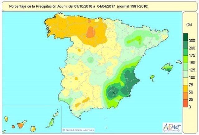 Mapa de lluvias acumuladas en España desde octubre de 2016 al 4-4-2017
