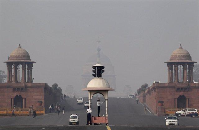 Nueva Delhi, imagen de contaminación frente al palacio Rashtrapati Bhavan