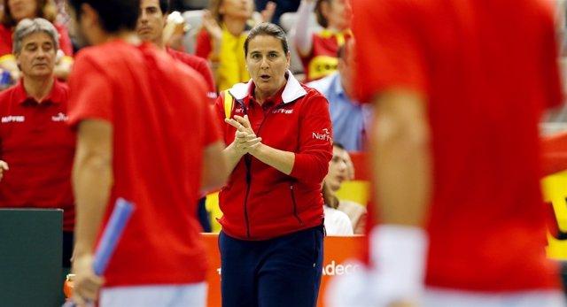 La Capitana Del Equipo Español De Copa Davis, Conchita Martínez