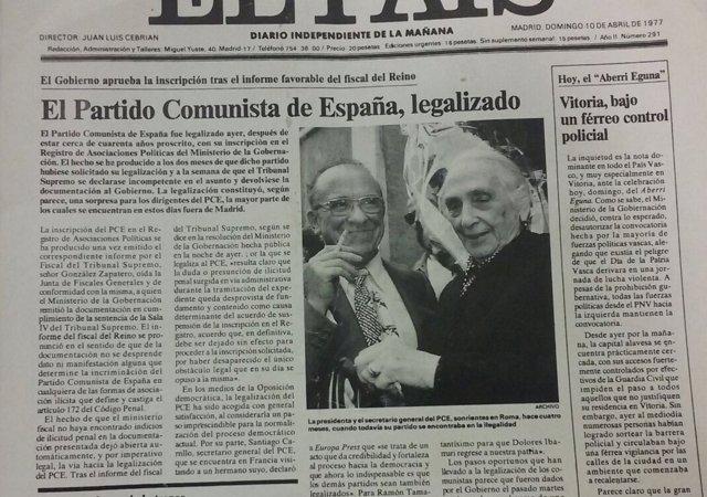 Portada sobre la legalización del PCE