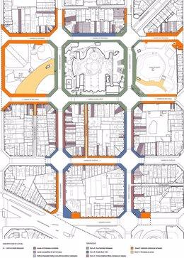 Plano de la ordenación de los alrededores de la Sagrada Família