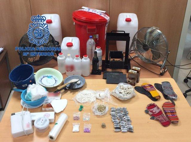 Material incautado en operación policial